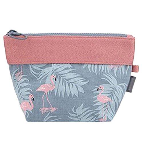 Chakil Mini Mignon Flamingo Trousse De Maquillage Paresseux Pratique Sac Cosmétique Sac De Rangement Cosmétique Sac De Voyage Multifonction size 12 * 12 * 7cm