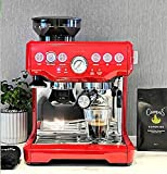 Coffee Machine, Bes870 Espresso Coffee Maker Grind Beans Semiautomatic 15Bar Grinder Steam Coffe Machine 220-240V BY PPLL (Color : Red, Plug Type : US)
