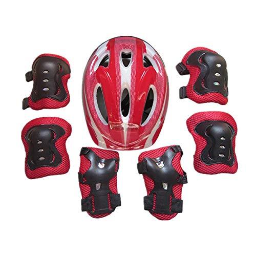 homchen 7Pcs Kinder Kinder Skate Radfahren Fahrrad Schutzhelm Knie Ellbogen Pad Set Radfahren (Red, ONE Size)