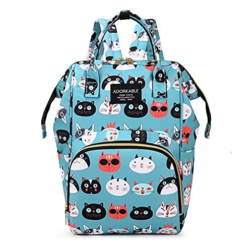 Mochila para pañales de bebé, bolso cambiador, moda para mujeres, bolso de pañales grande, organizador multifuncional de nailon impermeable con gran capacidad, Green Cats, Blue