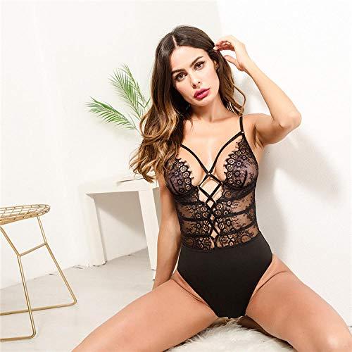 FPBY Conjuntos De Lencería Erótica para Mujer Lencería Sexy Body Sexy Lencería Sexy Mujeres Body De Encaje Pijamas-Black_L