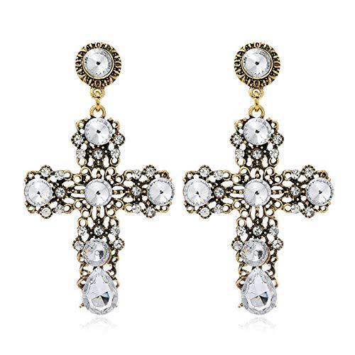 Pendientes de botón de temperamento con gemas cruzadas concisas de moda europea y americana 1128-Blanco