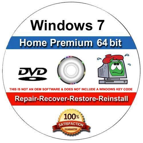 9th and Vine Compatible Windows 7 Home Premium 64 Bit DVD. Install To Factory Fresh, Recover, Repair and Restore Boot Disc. Fix PC, Laptop and Desktop.