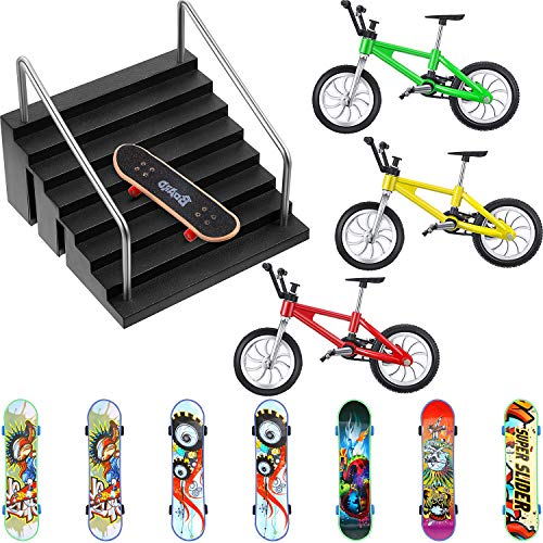Sumind 12 Pieces Fingerboard Rail Park Set Include 1 Piece Fingerboard Skate Park, 8 Pieces Finger Skateboards and 3 Pieces...