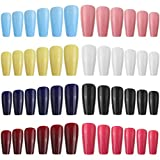 192 Pieces 8 Set Long French Ballerina Coffin Press on Fake Nails Long