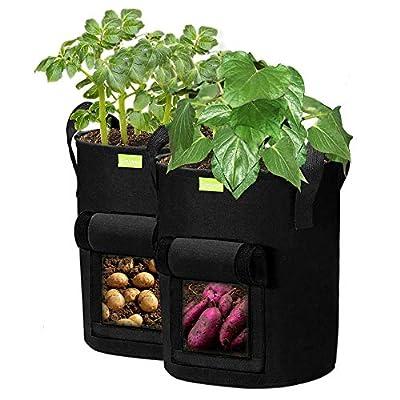 SIMBOOM Sacs à Plantes, 2PCS Sacs de Culture pour Pommes de Terre Fraise Tomates, avec Rabat d'accès et Poignées en Nylon Robust(Noir) - 10 Gallons 40 L