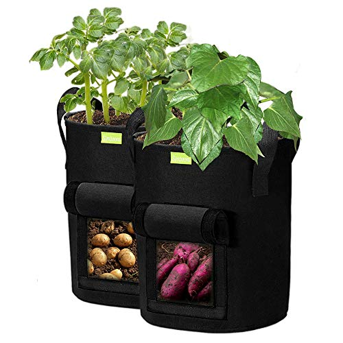 SIMBOOM Bolsas para Plantas, 2PCS Tela no Tejida Bolsas de Cultivo de Jardín con Asas y Ventana Visualizar para Patatas Tomates Fresas(Negro) - 27L