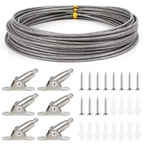 Huayue 10m x 2mm Cable de Acero Alambre para Colgar Cuerda para Tender Ropa Cuerda de Acero Inoxidable con Cable Códigos Fijos y Tornillos para Colgar Ropa Cortina Marco Foto (Soporte hasta a 30 KG)