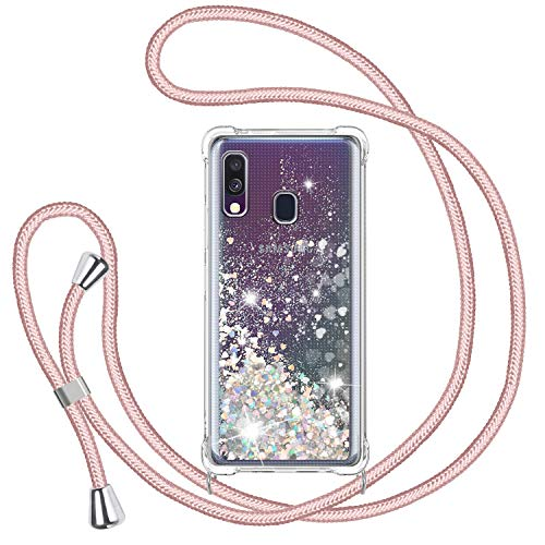 TUUT Handykette für Samsung Galaxy A40 Glitzer Handyhülle, Glitter Flüssigkeit Smartphone Necklace Schutzhülle Hülle TPU Bumper Silikon Clear Back Cover, Gradient Quicksand Case in Rosé-Gold