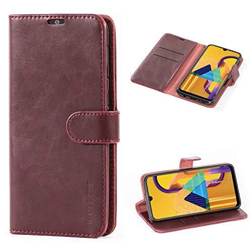Mulbess Handyhülle für Samsung Galaxy M30s Hülle, Leder Flip Case Schutzhülle für Samsung Galaxy M30s Tasche, Wein Rot