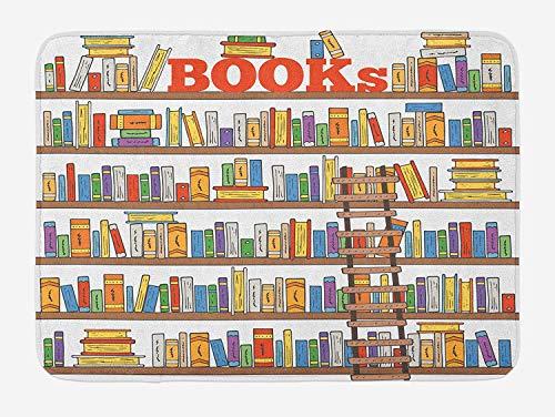 AdaCrazy Tappetini bagno moderni Scaffali biblioteche con libreria Istruzione scolastica Campus life comic comic Tappeto bagno peluche con tappetini antiscivolo Tappeto bagno flanella 40x60cm