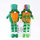 2PCs Patricks Day Gnome Green Stuffed Gnomes Scandinavian Gnomes for Patrick's Day Irish Leprechaun Tomte Gnomes Doll Home Decoration Ornaments (C)