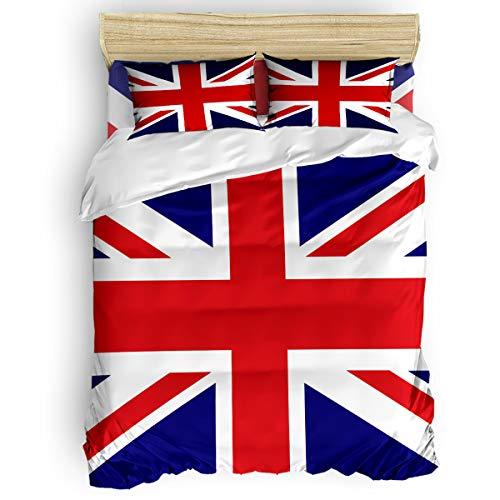 SunnyM Juego de Funda de edredón de 4 Piezas, Bandera de Inglaterra, 1 Funda de edredón, 1 Colcha y 2 Fundas de Almohada para niños, Adolescentes, Adultos, Rojo, Azul y Blanco, Love15-s, Plein