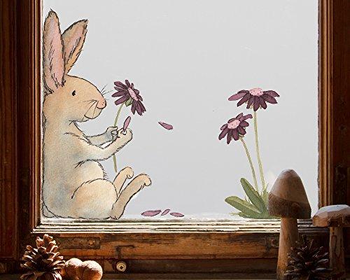 Tinyfoxes Fensterbild Hase und Blume - Wiederverwendbare Dekoration für alle Jahreszeiten (groß - 50 x 40 cm)