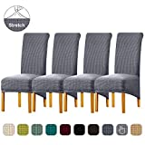Lellen XL Size Stretch Chair Covers for Dining Room,Large Dining Room Chair Slipcovers Dining Chair Covers Parsons Kitchen Seat Cover Reusable Side Chair Slipcover Soft Protector Set of 4 (LightGrey)