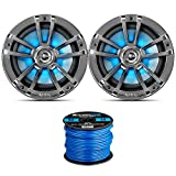 1 Pair (QTY 2) of Infinity Reference 6.5-Inch 225-Watt High-Performance 2-Way Weather-Proof Marine Boat Power Sport Chrome 2-Way Coaxial LED Speakers Bundle Combo with 16 Gauge Speaker Wiring