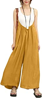 Zimaes Womens Summer Palazzo Beach Pants Spaghetti Strap Cotton Jumpuits and Rompers