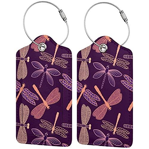 BCLYPBO - Etichette per bagagli in pelle con libellula, in pelle sintetica, con anello in acciaio inox, confezione da 2 pezzi