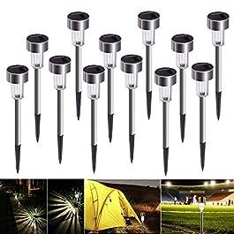 Lampe Solaire Exterieure Jardin au Sol, Bawoo 12pcs Lampe Jardin Sans Fil LED Décoration Eclairage Solaire Extérieur…