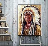 yangwuju Gebürtiger Inder mit Stift-Ölgemälde auf Leinwand-Plakaten und Abdruck-skandinavischer Pop-Kunst für Wand-Foto für Raum-50x75cm with Frame
