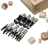 Yakamoz 8 Pieces HSS Taper Claw Type Wood Plug Cutter Drill Bits 5/8' 1/2' 3/8' 1/4'