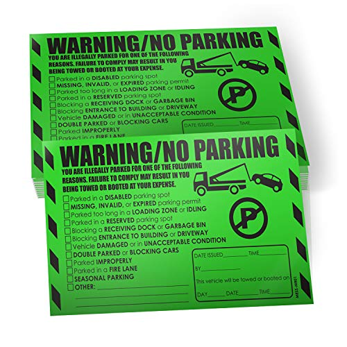 Parking Violation Stickers for Cars (Fluorescent Green) - 100 Illegal Warning Reserved, Handicapped, Private Parking and More/No Parking Hard to Remove and Super Sticky Tow Warnings 8� x 5� by MESS
