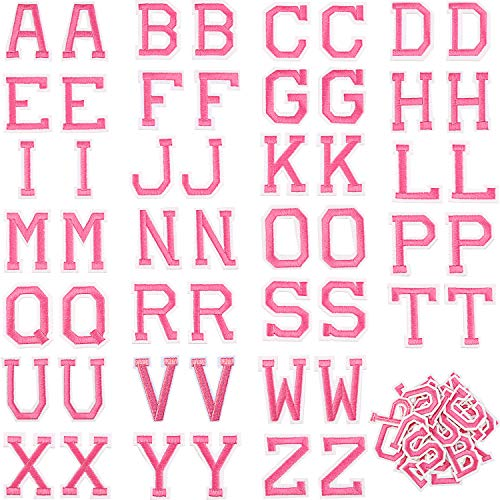 52 Pieces Iron on Letter Patches, Alphabet Applique Patches or Sew on Appliques with Embroidered Patch A-Z Letter Badge Decorate Repair Patches for Hats, Shirts, Shoes, Jeans, Bags (Rose Red, 52 Piece
