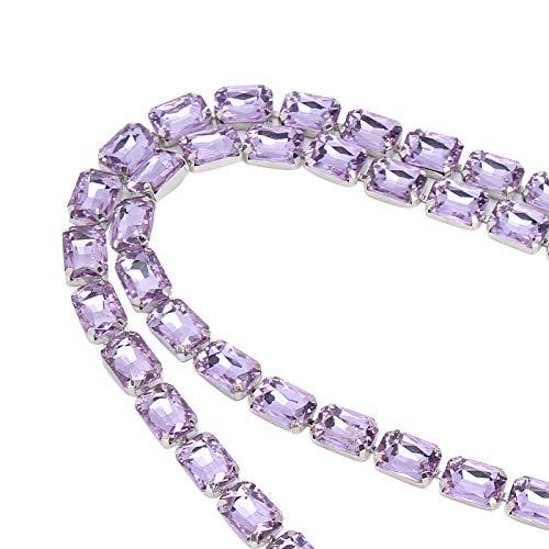 Okuyonic Cadena de Garra de Vidrio Cadena de Diamantes de imitación de Esmalte de Color para decoración de Vacaciones(Light Purple)