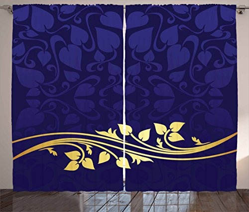 Ambesonne Floral Curtains, Romantic Royal Leaf Pattern with Golden Colored Floral Branch with Leaves, Living Room Bedroom Window Drapes 2 Panel Set, 108 W X 84 L inches, Indigo and Purple