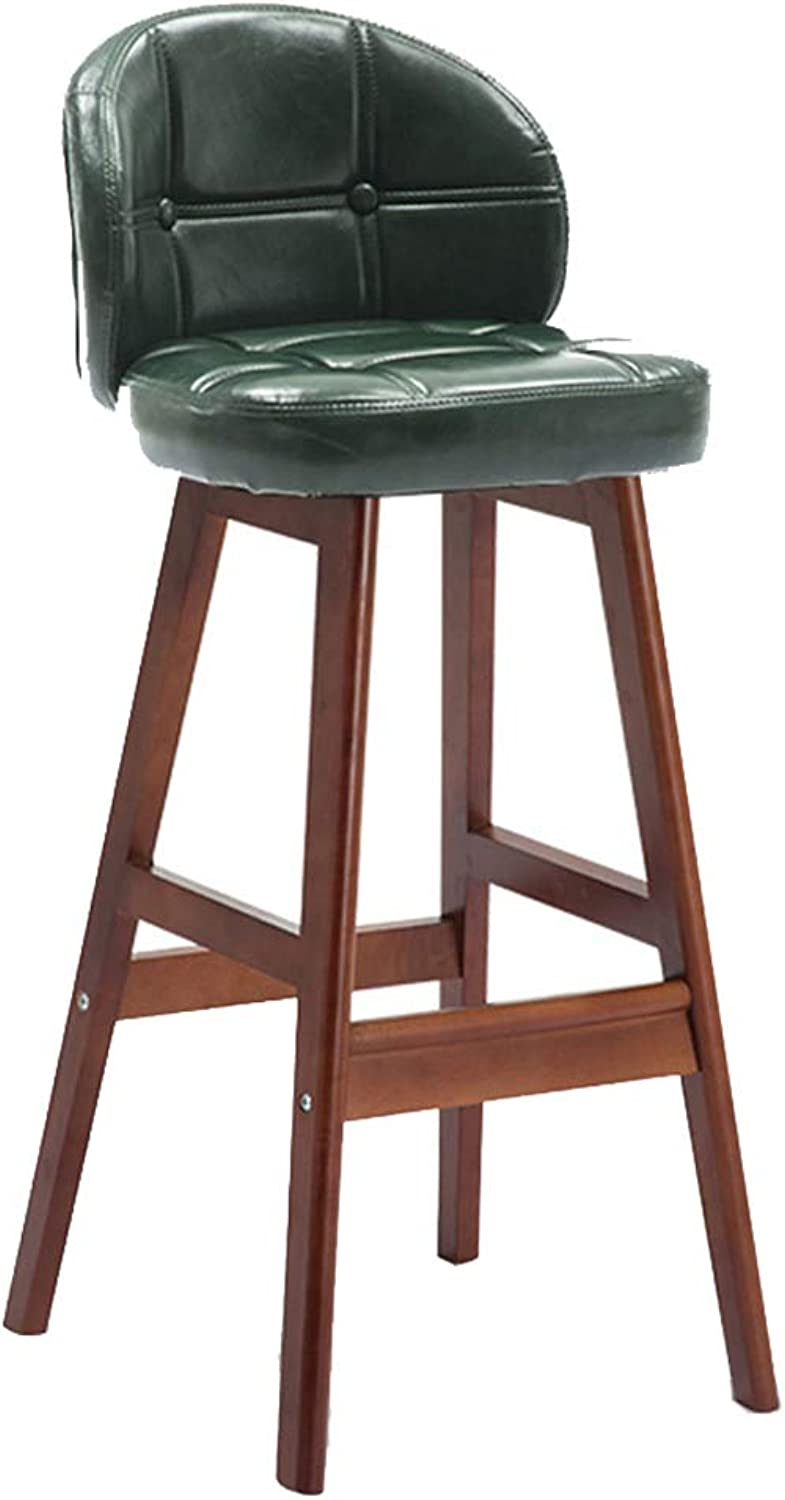 Barstools Luxury Bar Stool Kitchen Pub Breakfast Dining Chair Counter Solid Wood Brown Frame Ergonomic PU Seat Max Load 130kg (color   Green, Size   60CM)