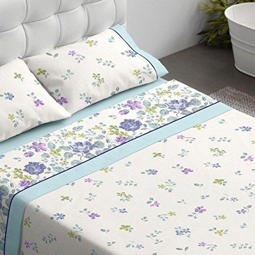 Burrito Blanco Juego de Sábanas 695 Matrimoniales 150x190 cm hasta 150x200 cm 4 Piezas (1 Sábana Encimera, 2 Fundas de Almohada y 1 Sábana Bajera) Diseño de Flores, Azul