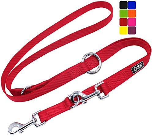 DDOXX Guinzaglio per Cani Nylon, Regolabile con 3 Misure, 2 m | Tanti Colori e Taglie | Guinzaglio Doppio Cane Gatto Cucciolo Taglia Piccola Media Grande Piccoli Medi Grand | S, Rosso, 2m