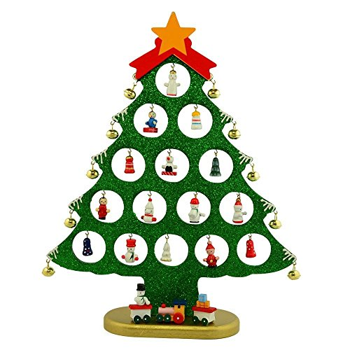 Tabletop Wooden Christmas Tree with Miniature Wood Ornaments and Star Topper