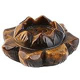 mookaitedecor Tiger's Eye Carved Gemstone Lotus Flower Crystal Ball Stand/Candle Holder