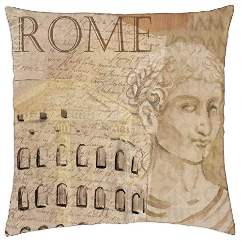 LESGAULEST Throw Pillow Cover (24x24 inch) - Colosseum Rome Caesar Background Italy Europe
