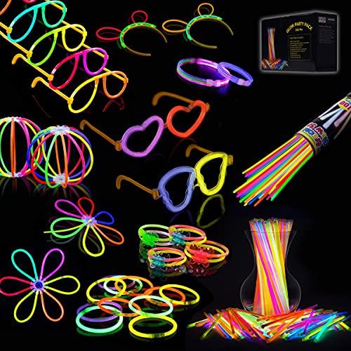 IREGRO Pulseras Luminosas 100pcs de Fiesta 20cm Colores con Conectores para Hacer Glow Sticks Pulseras, Collares, Kits para Crear Gafas Fiestas (100 pcs)