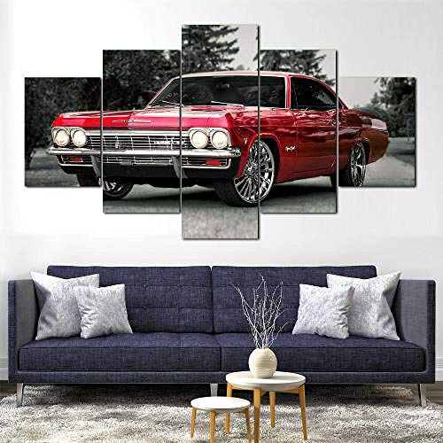 QMCVCDD 5 Piezas De Pared Fotos Cuadros En Lienzo1965 Chevy Impala Rojo HD Imprimir Modern Artwork Decoración De Arte De Pared Living Room Moderno Cuadro En Lienzo 5 Piezas