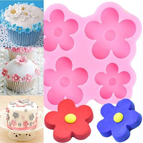FGHHT Moldes de Silicona de Flores DIY Boda Cupcake Topper Fondant Herramientas de decoración de Pasteles Chocolate Gumpaste Candy Polymer Clay Moldes