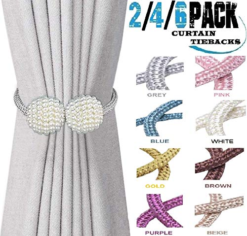HoHnH Grey 6 Pearl Magnetic Curtain Tiebacks Clips Decorative Rope Holdbacks, Drapery Tie Backs Weave Holder for Window Draperies Hold Curtains Drape Ties Backs 16 inch Holdback (Grey, 6)