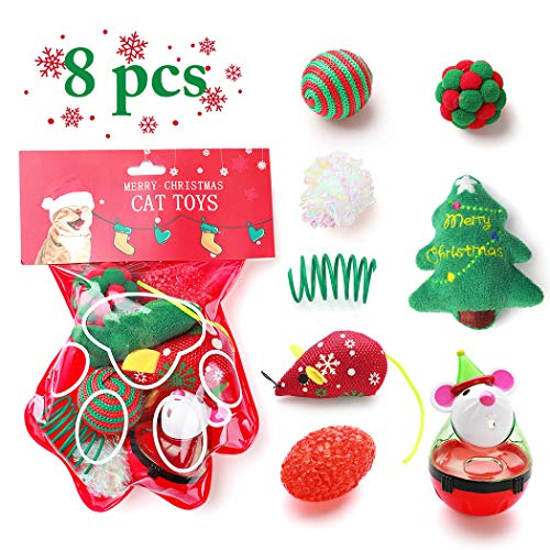 Dorakitten Cat Toy Christmas,8PCS Cat Toy Christmas Stocking Christmas Cat Stocking Cat Toys for Indoor Cats Interactive Cat Toys Kitten Interactive Mouse Toys Set for Kitty and Cats