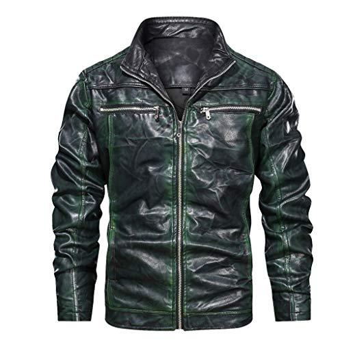 serliy😛Herren Jacke Übergangsjacke Biker Lederjacke Echtleder Kunstleder Baumwolle mit gesteppten Bereichen