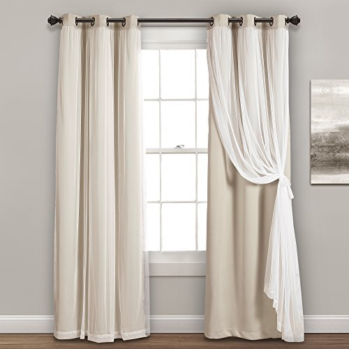 """Lush Decor Sheer Grommet Panel with Insulated Blackout Lining, Room Darkening Window Curtain Set (Pair), 84"""" x 38"""", Wheat"""