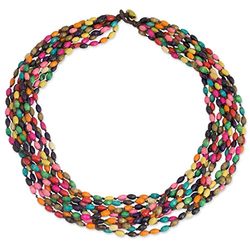 NOVICA Multicolored Beaded Wood Necklace