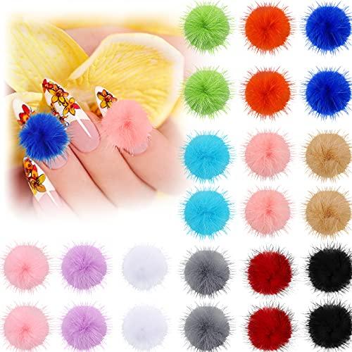 24 Pieces Nail Pom Fluffy Ball Fur Fluffy Pompom Ball Detachable Nail Art 3D Nail Plush Fur Balls Acrylic Nail Tips Decorations Accessories for Girls Women DIY Nails Art, 12 Colors