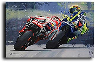 PCCASEWIND Impressions sur Toile,Watercolor Oil Prints Valentino Rossies Poster Motorcycle Canvas Painting Posters Print W...