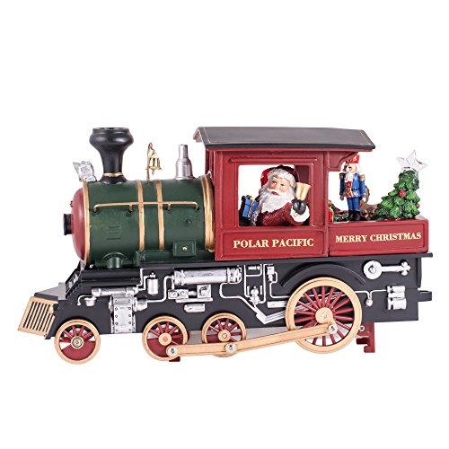 Santa Claus Riding a Train Musical Light Up Christmas Figurine