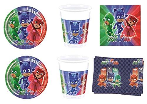 PJ Masks Super pigiamini coordonné décorations fête – Kit N ° 5 CDC- (32, 32 verres, 40 assiettes 40 serviettes, 1 nappe)