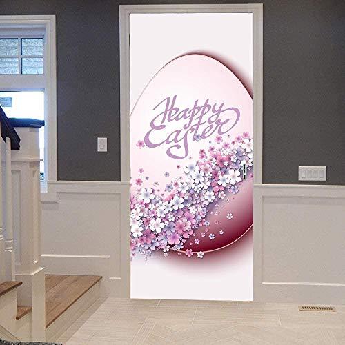 Papel Pintado Puerta Efecto 3D Extraíble Murales Para Puertas Autoadhesivo Impermeable PVC de Cocina Sala Baño oficina Decoración Puerta Papel Tapiz 77 x 200cm Huevo de flor rosa