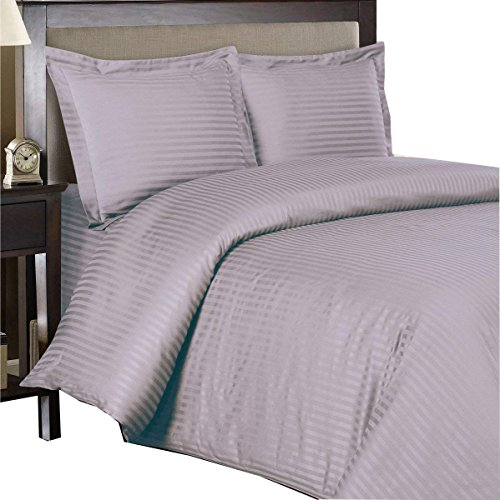 Royal Hotel Striped Lilac 300-Thread-Count 4pc King Bed Sheet Set and 3pc Duvet-Cover-Sets 100-Percent Cotton, Sateen Striped, Deep Pocket, 100% Cotton