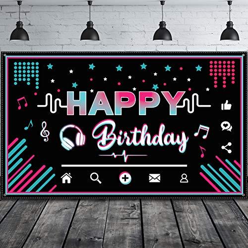 Happy Birthday Backdrop Teens Social Media Theme Birthday Party